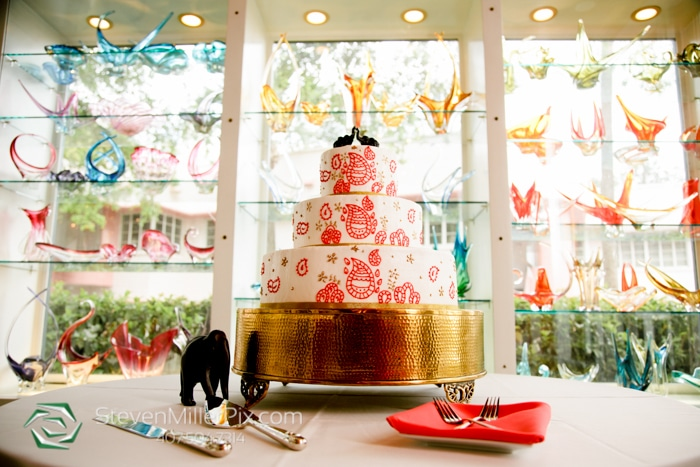 The Courtyard at Lake Lucerne - colorful paisley wedding cake