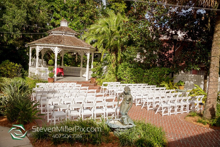 The Courtyard at Lake Lucerne - lovely outdoor ceremony space with gazebo and brick pavers
