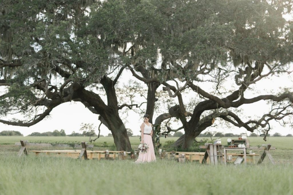 The-Villages-Polo-Club-Bride looking down, holding bouquet in front of large oak trees