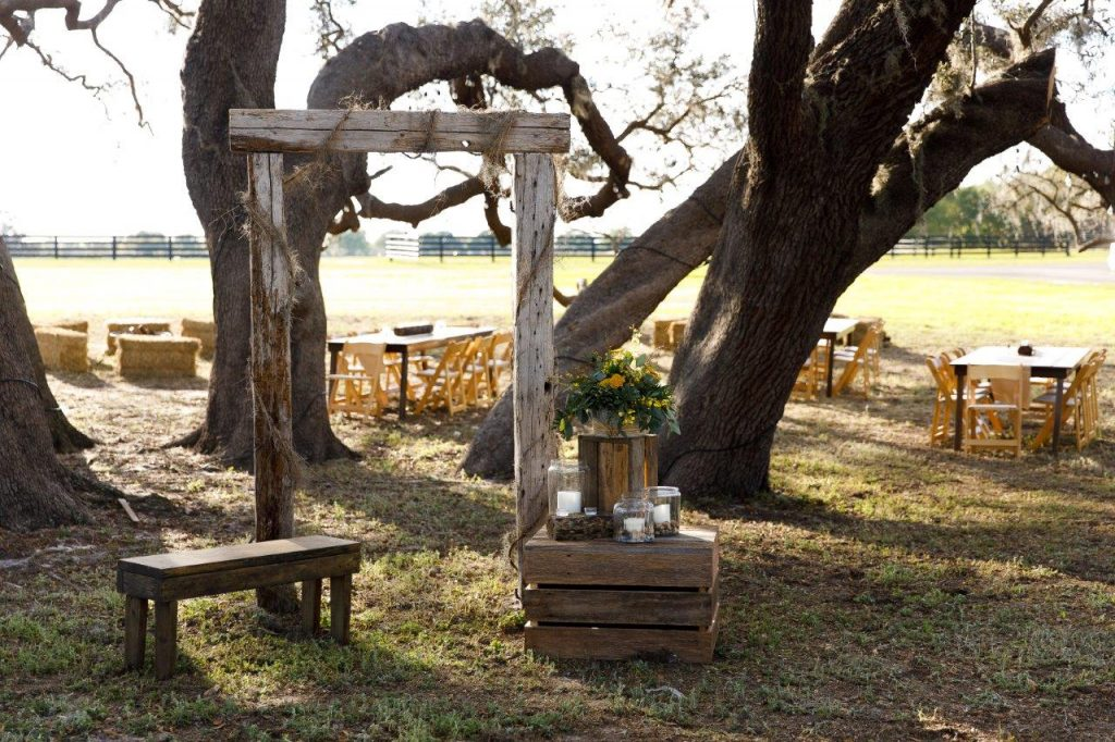Villages Polo Club - weathered wood wedding decor