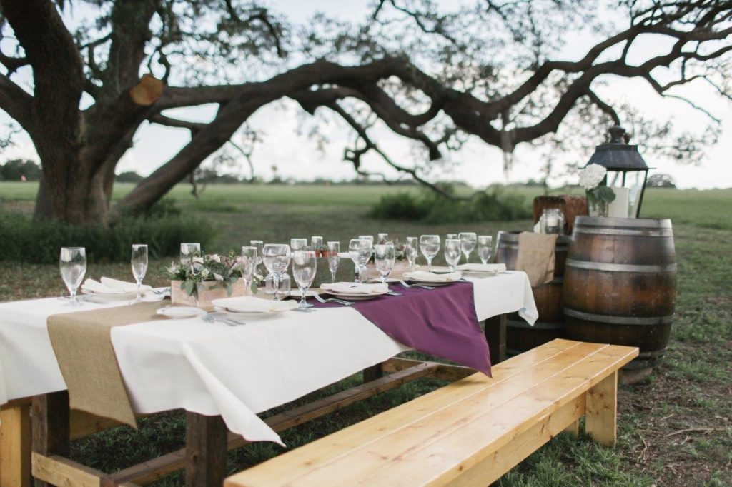 Villages Polo Club - family-style bench seating for reception