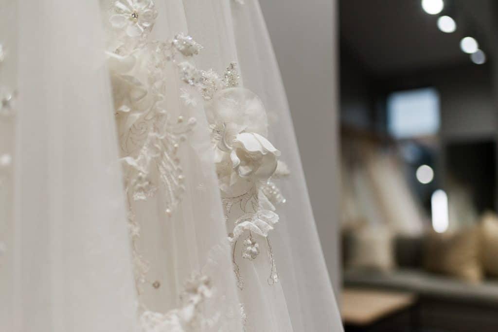 close up of beading on wedding dress