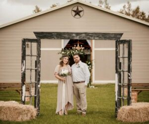 outdoor ceremony with bride and groom at mystical winds gathering place