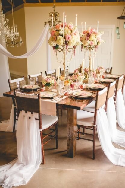 Anna Christine Events - rustic, romantic table decorated with flowers and tulle
