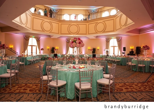 Anna Christine Events - wedding reception tables, bright blue and silver