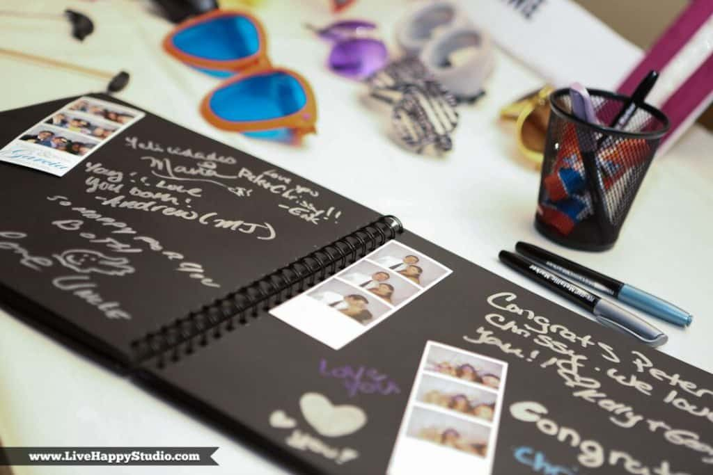 Photobooth Rocks - guestbook with signatures and photo strips