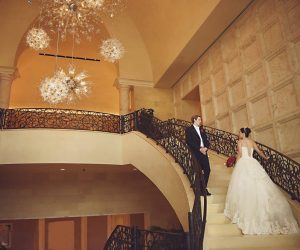 Rhodes Studios - bride and groom on gorgeous marble stairs