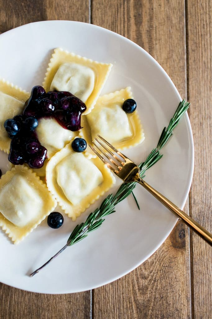 Two Chicks and a Pot - plate of blueberry ravioli