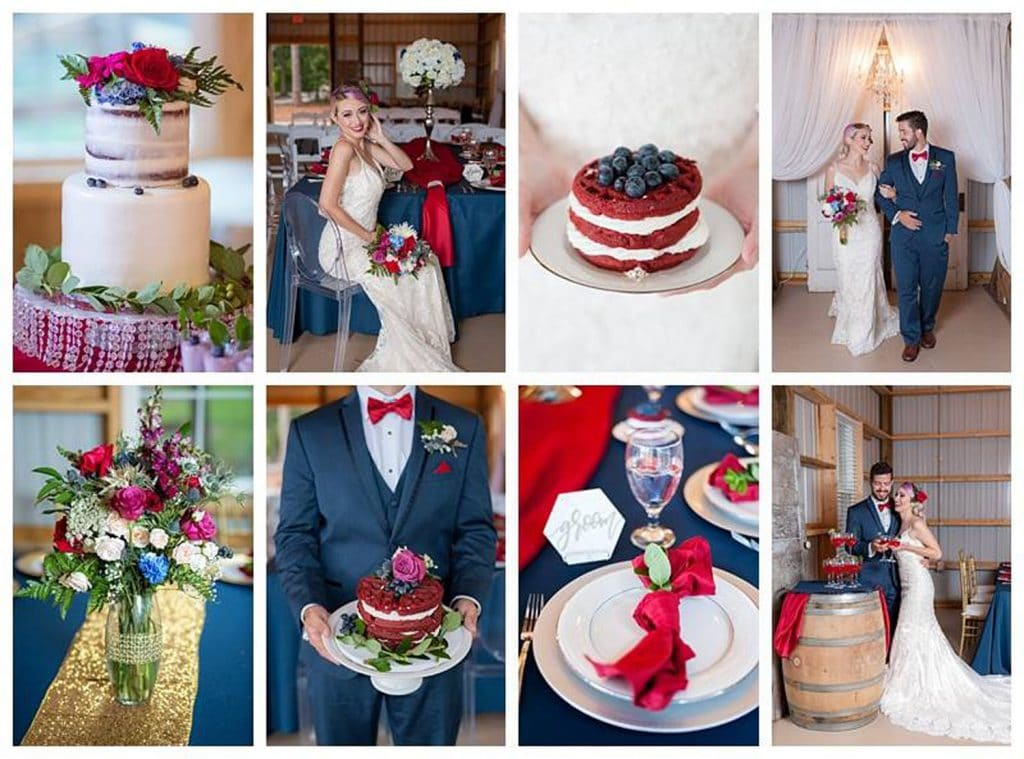 Blue View Event Barn - colorful highlights of red, white, and blue wedding