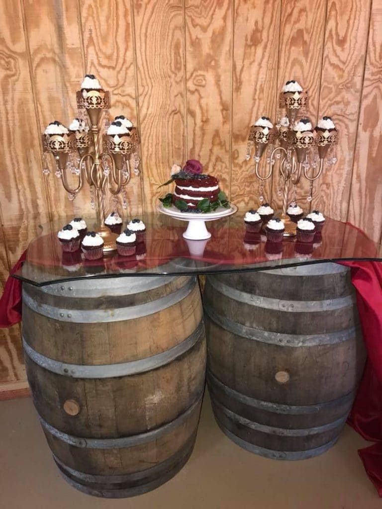 Blue View Event Barn - dessert table atop barrels