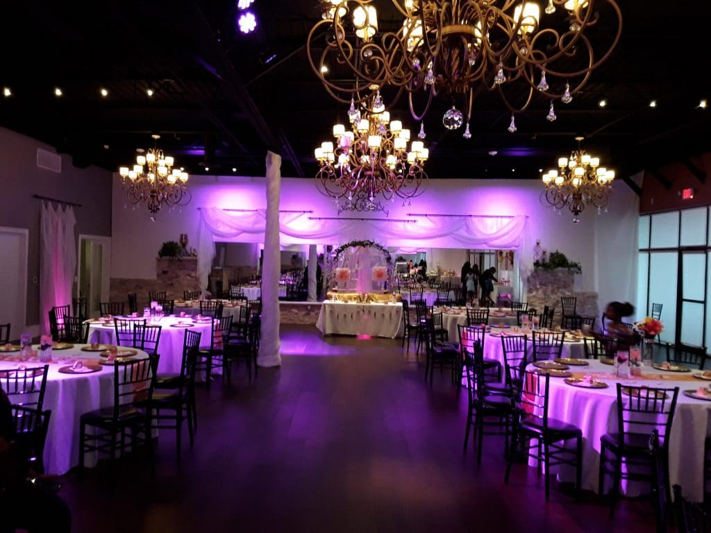 Rhythm and Smooth - elegant reception hall with chandeliers