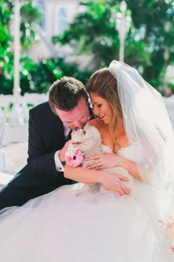 FairyTail Pet Care - bride and groom cuddling dog