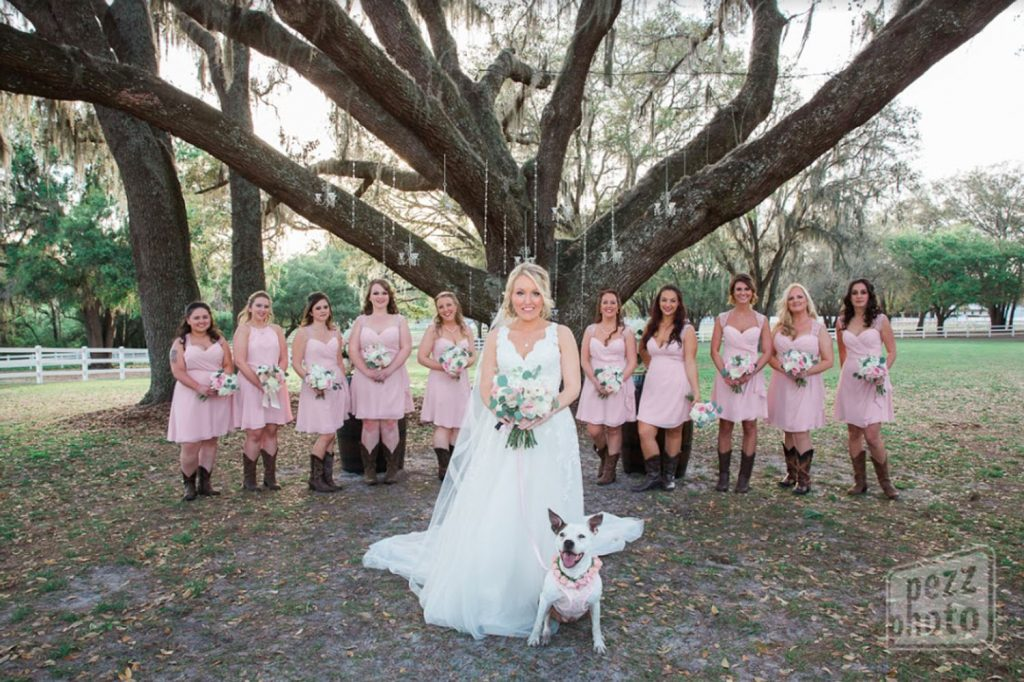 FairyTail Pet Care - bridal party posing with happy dog