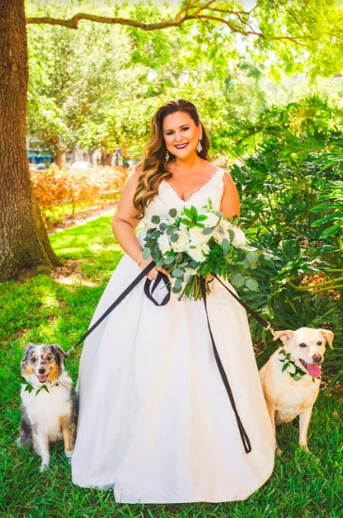 FairyTail Pet Care - bride with bouquet and two dogs