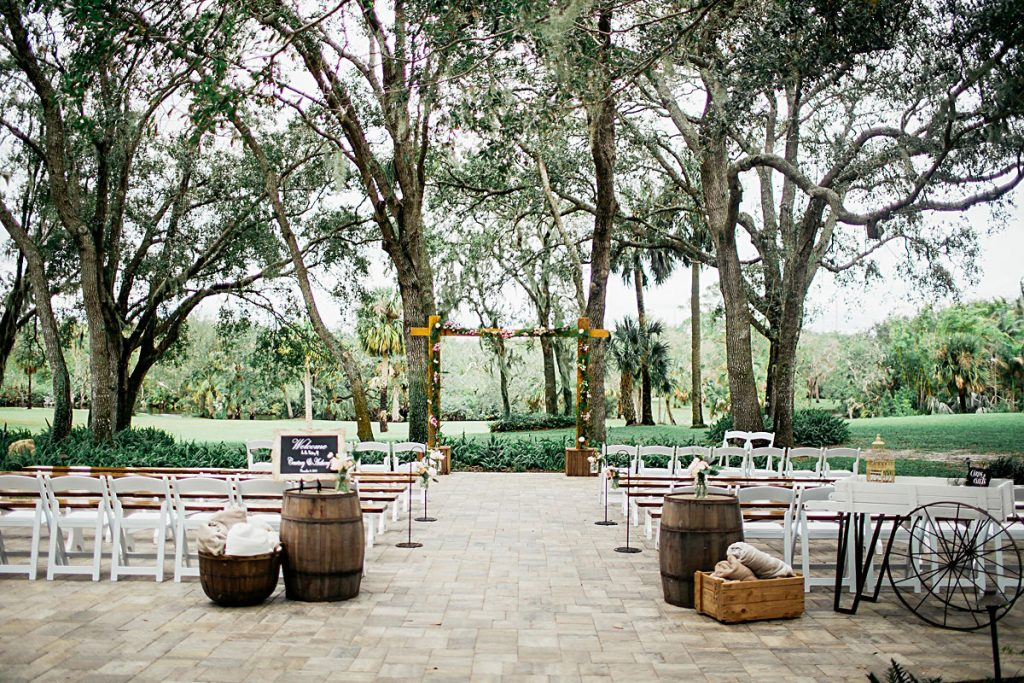 Up the Creek Farms - outdoor ceremony site with rustic barrels