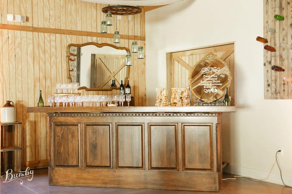 Up the Creek Farms - bar with mason jar lighting