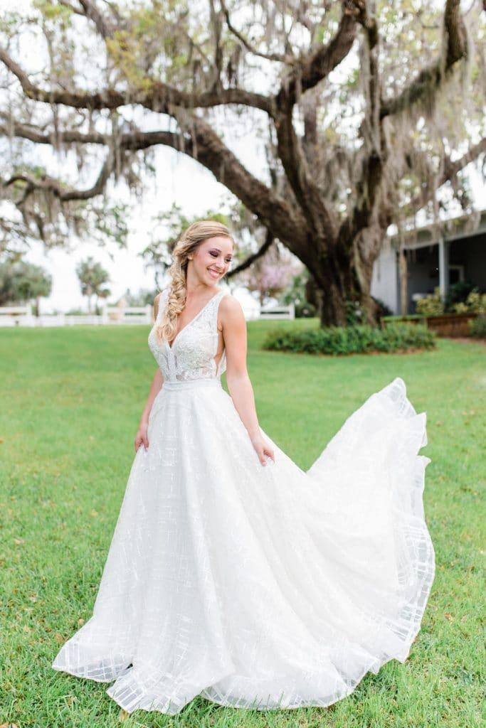 Up the Creek Farms - bride underneath sprawling oak tree