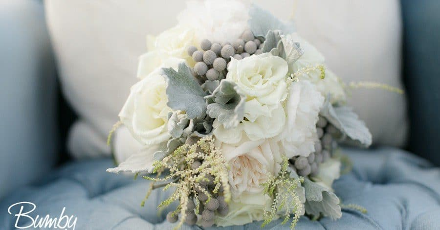wedding bouquet in cool colors