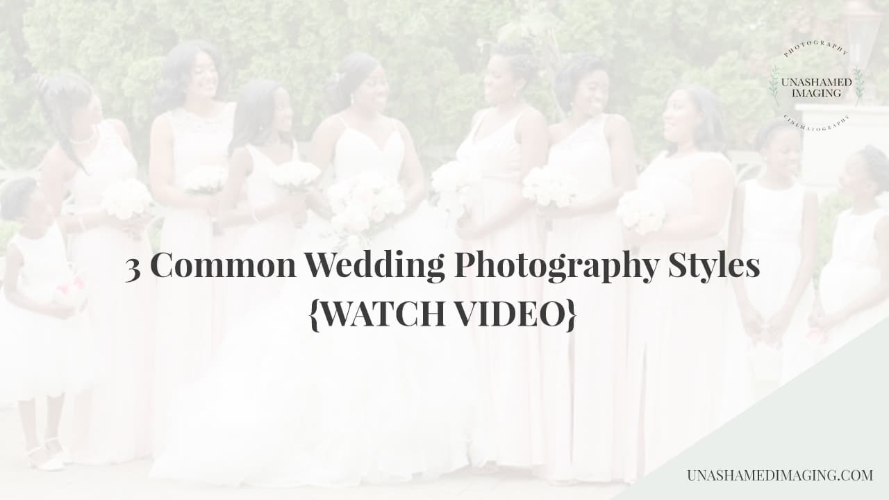facebook live video about common wedding photography styles