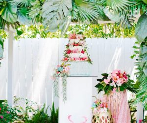 tropical wedding cake display