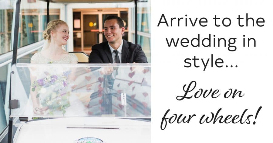 bride and groom smiling in golf cart