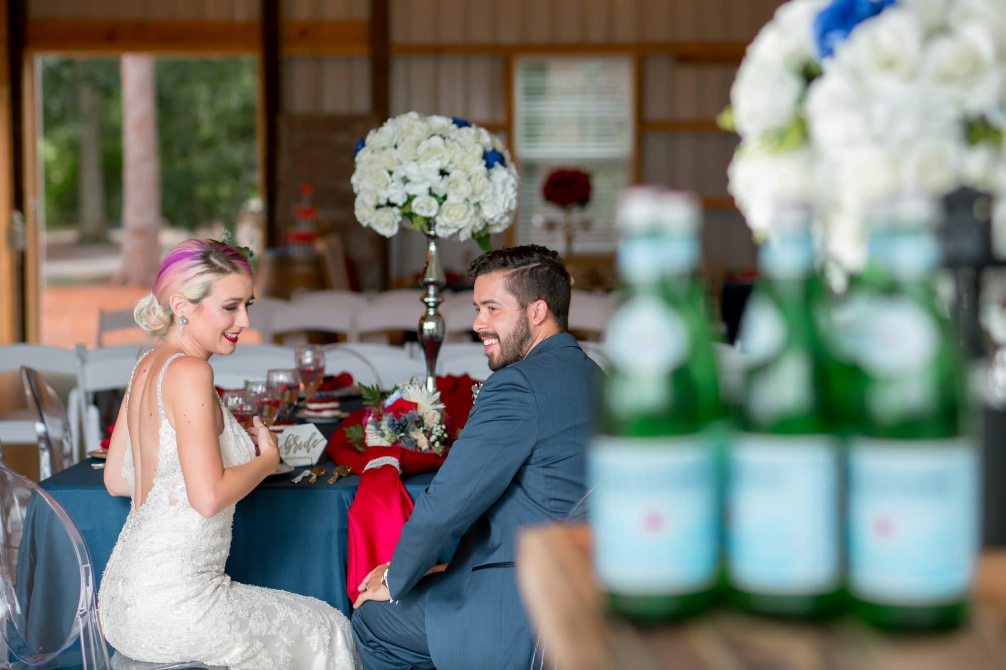 Blue View Event Barn - bride and groom at reception table