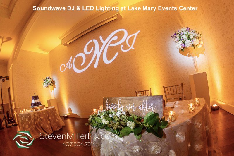uplighting and projected initials at Lake Mark Events Center