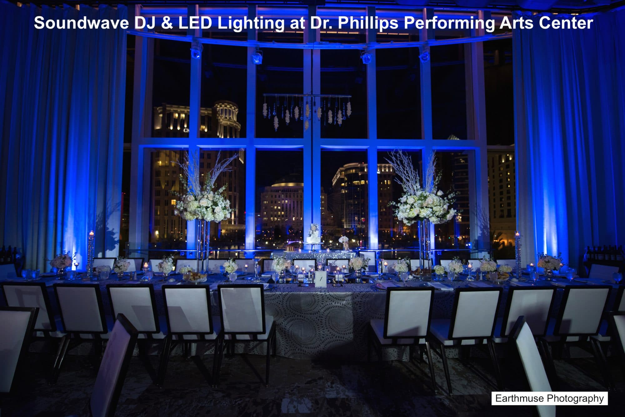 Cool blue uplighting at Dr. Phillips Performing Arts Center