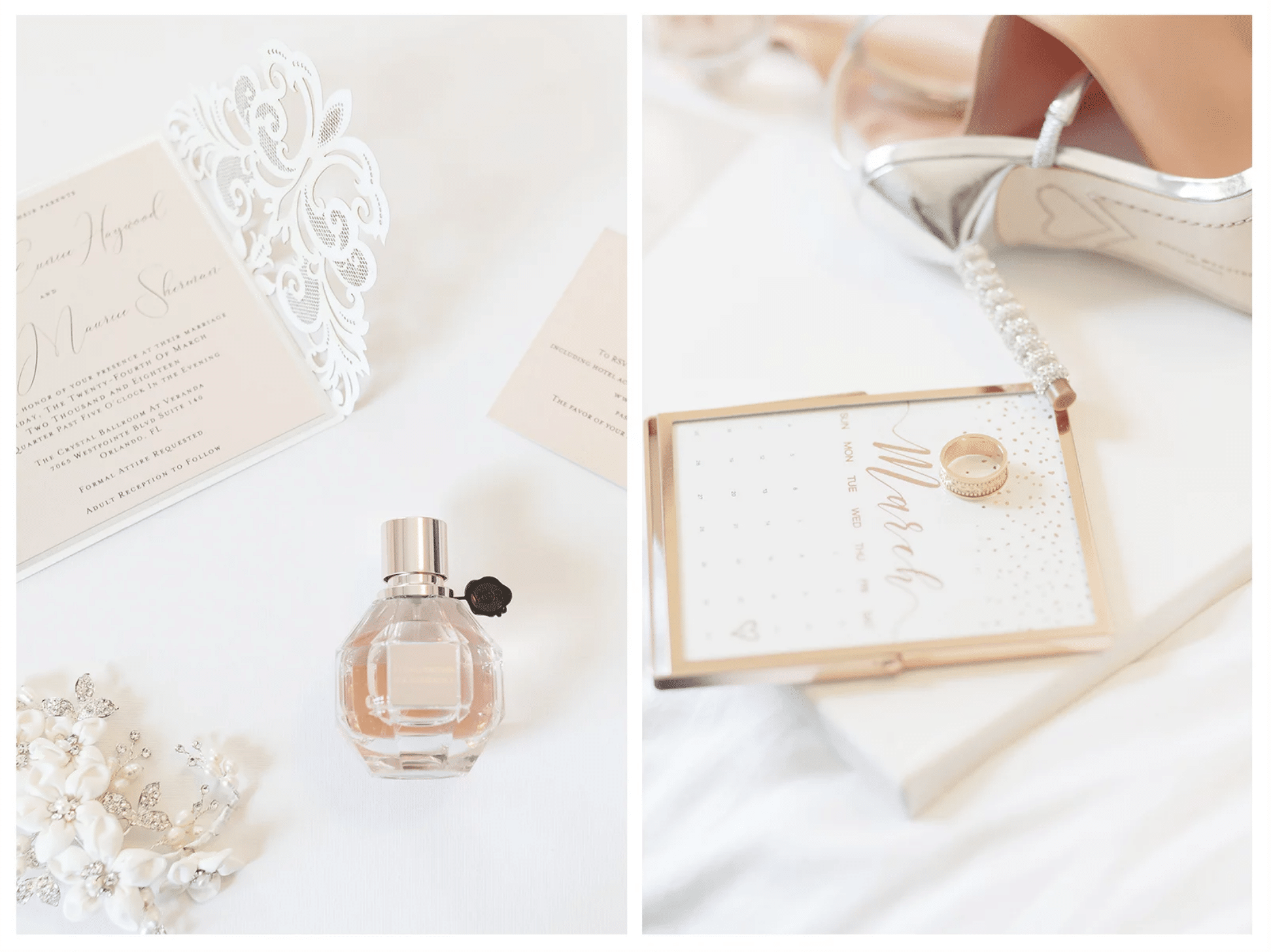flat lay collage of invitation, perfume, bridal shoes, ring, and calendar