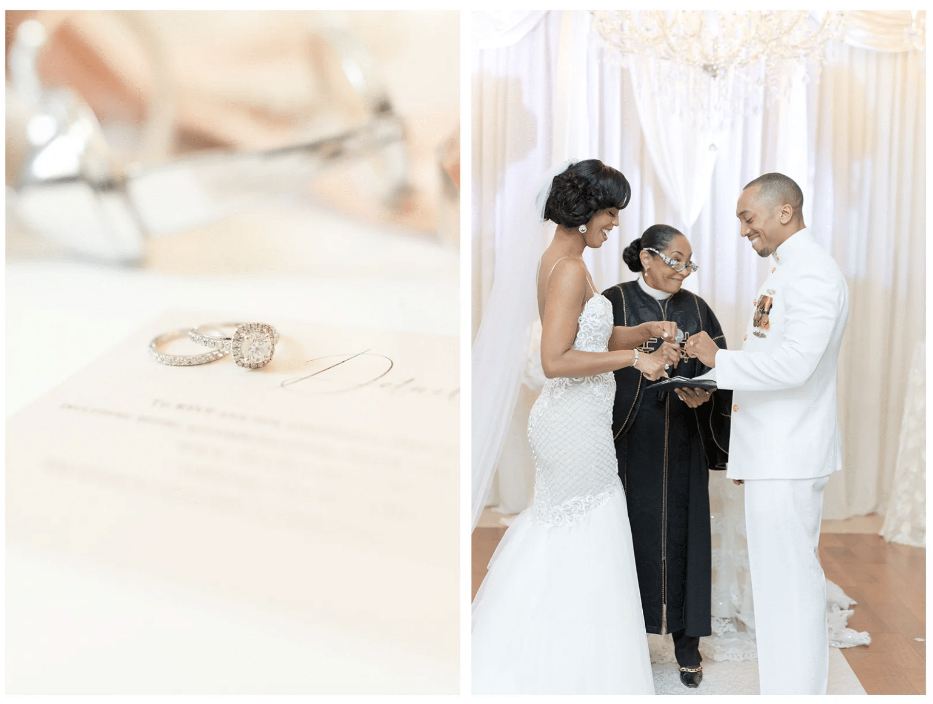 closeup of rings and exchanging rings at ceremony