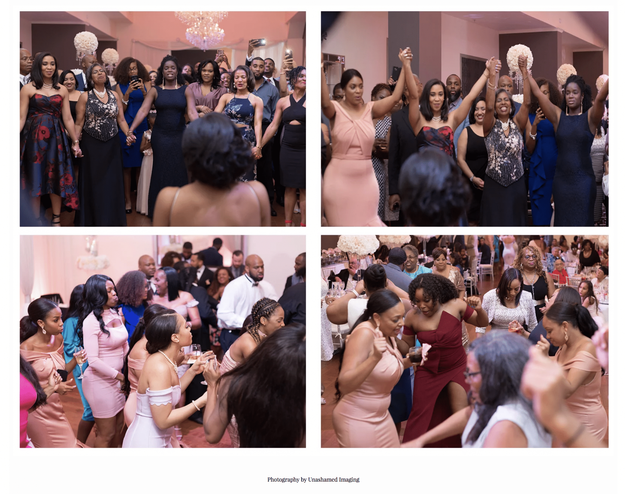 collage of candid moments in a wedding reception