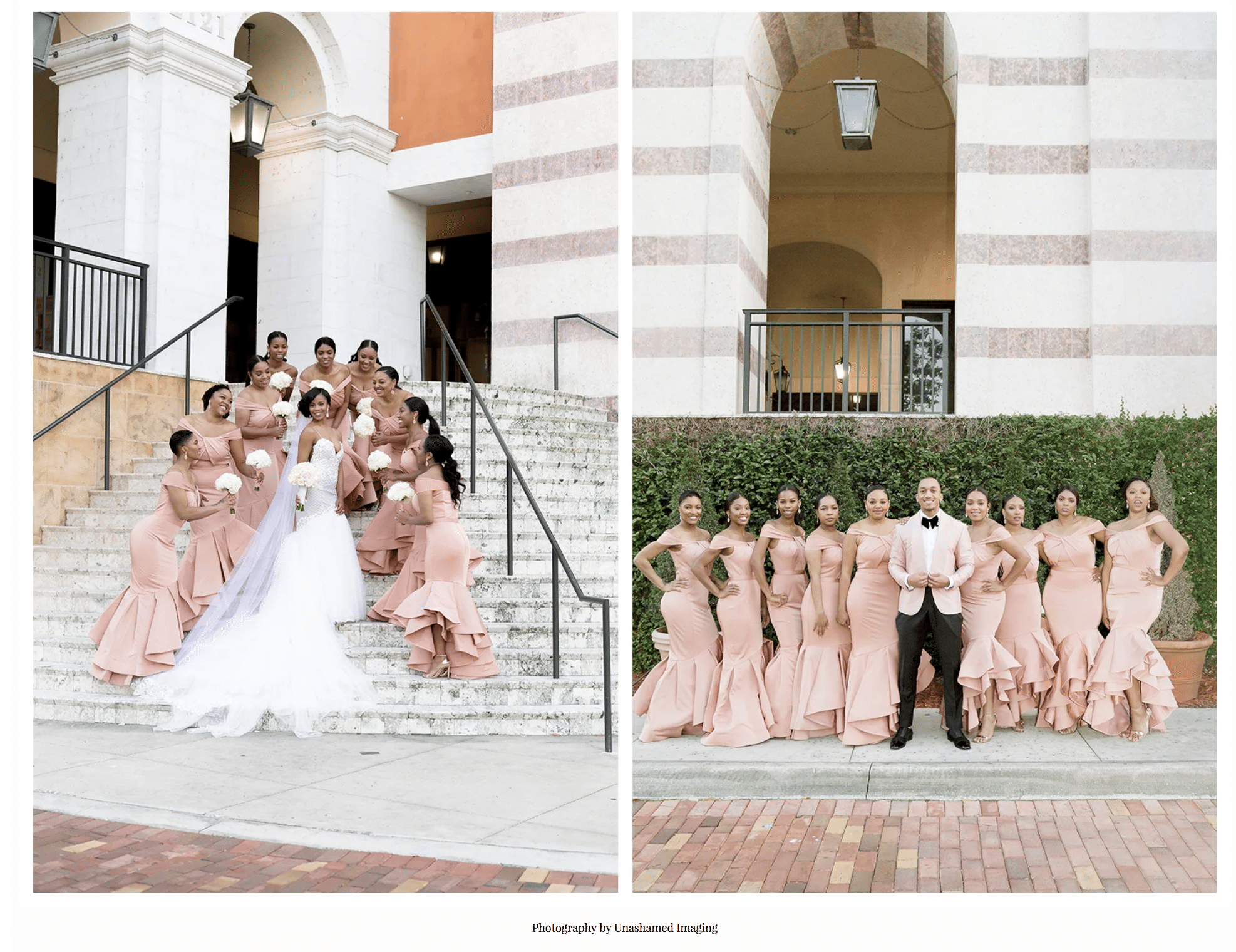 bridesmaids and bride on stairs and bridesmaids and groom