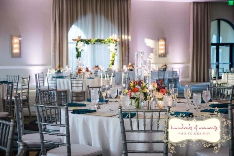 silver gray chiavari chairs at reception