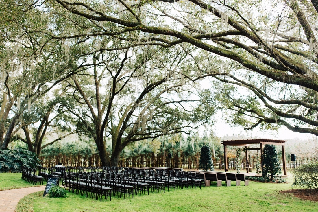 Ceremony space under oak trees at Club Lake Plantation