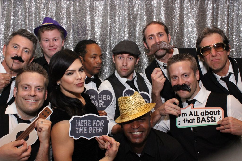 Party Shots Orlando - groomsmen with signs in photo booth