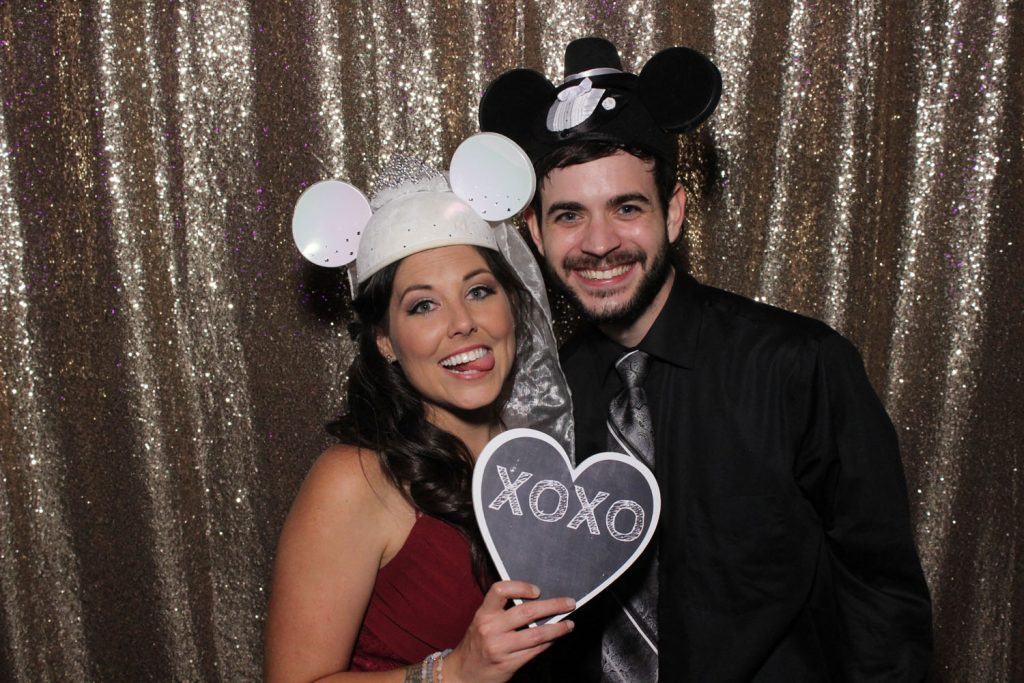 Party Shots Orlando - couple with wedding Mickey/Minnie ears