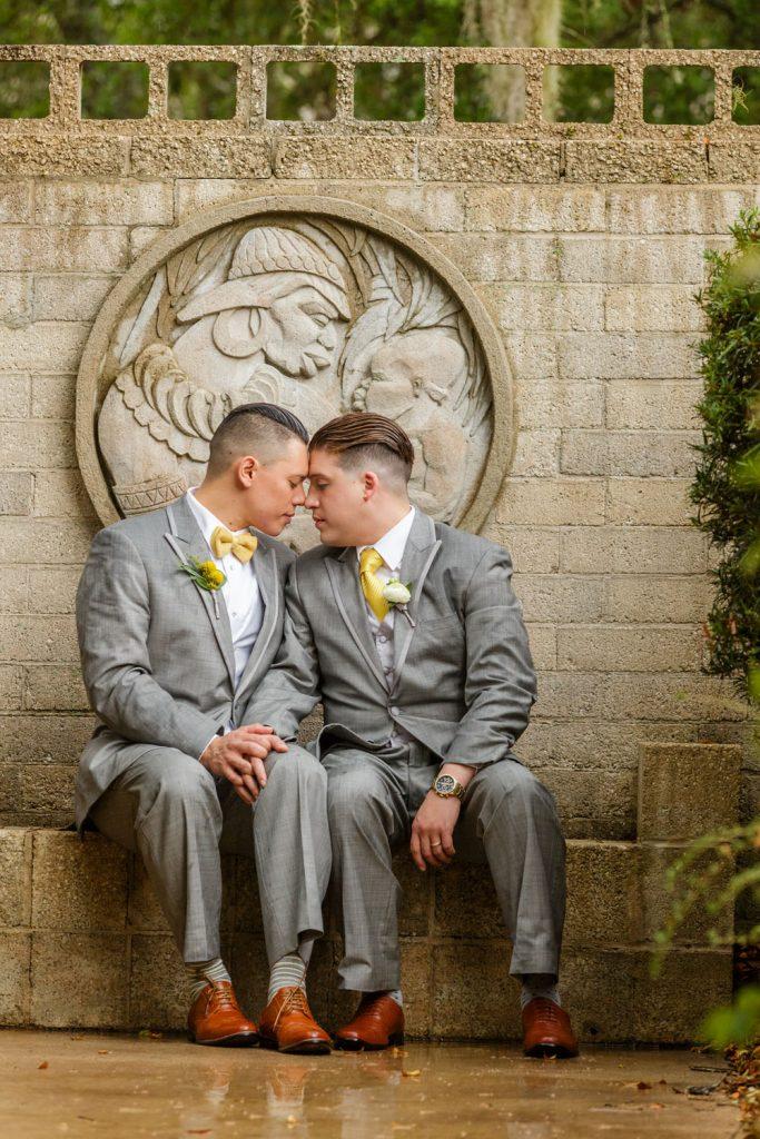 Steven Miller Photography - grooms in Mayan courtyard