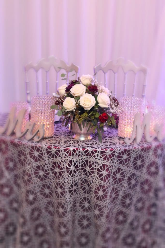 Destiny Event Venue - sweetheart table with Mrs. and Mr. signs