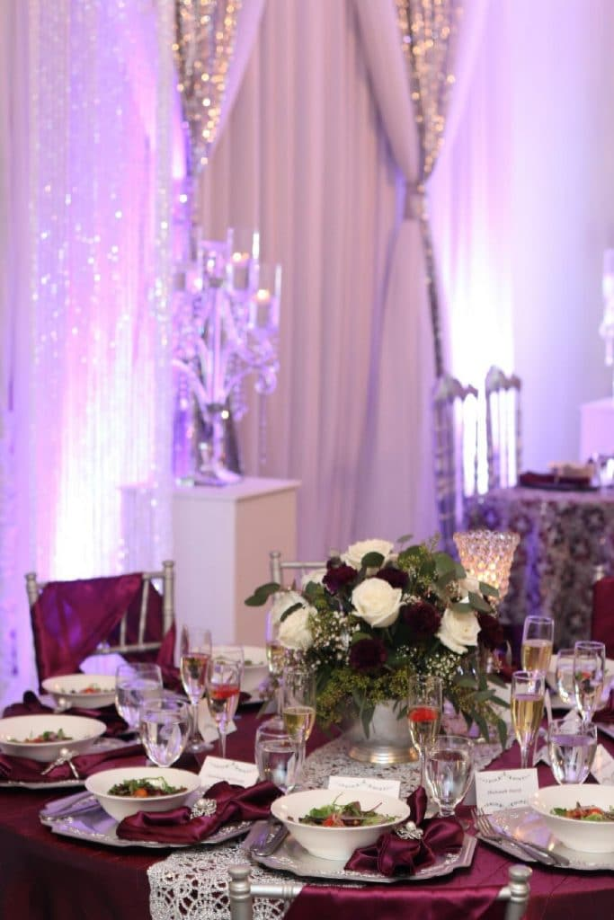 Destiny Event Venue - reception hall decorated in shades of dark purple