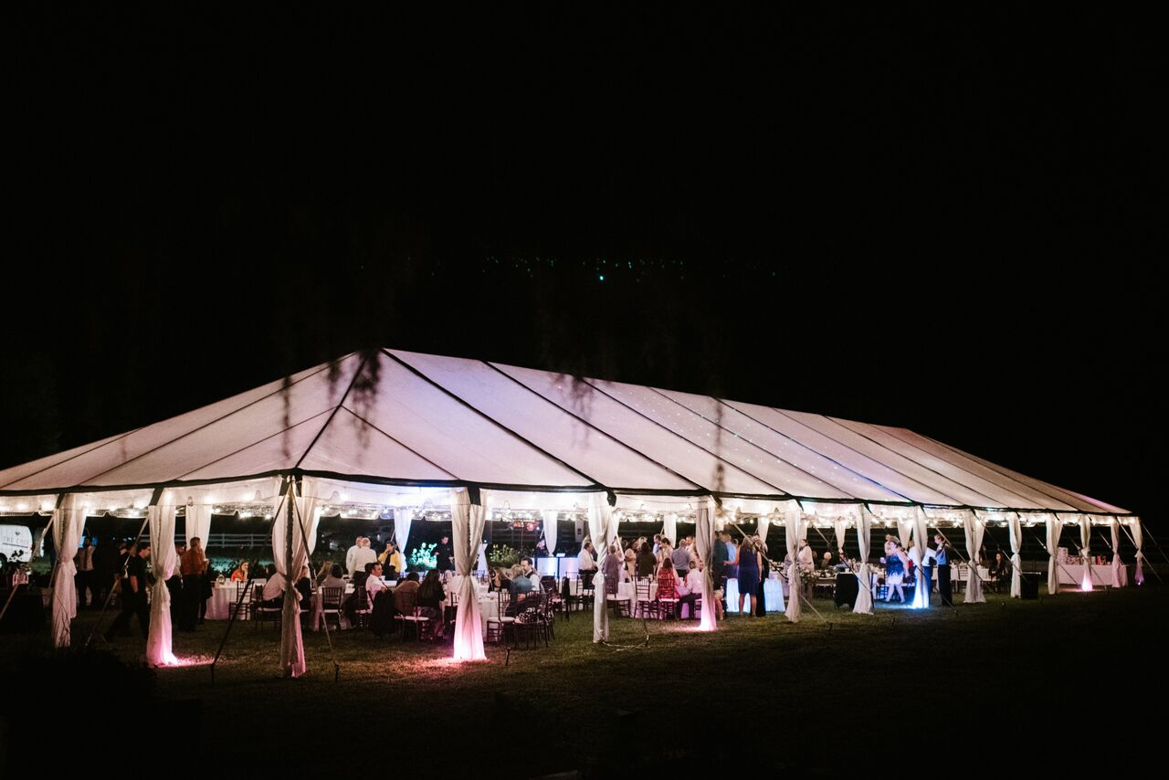 Orlando Wedding & Party Rentals - transparent tents glow once the sun goes down!