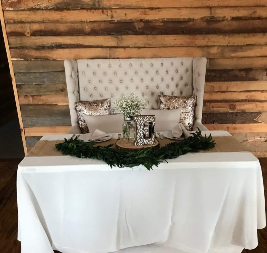 TrueHeart-Ranch- Bride and Groom table set up at reception