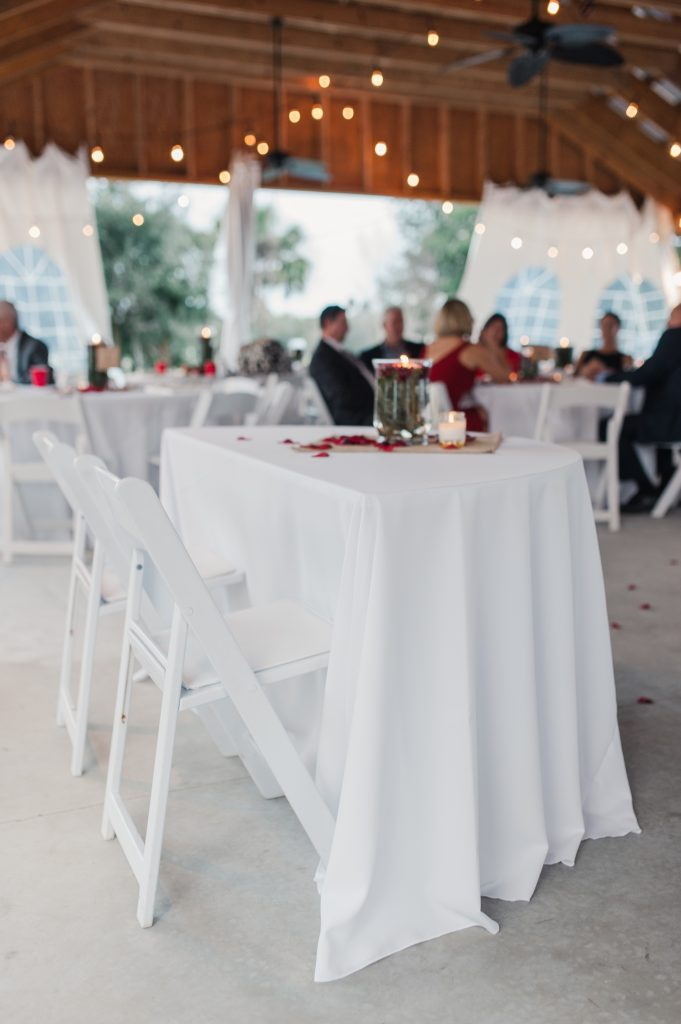 White tables during reception