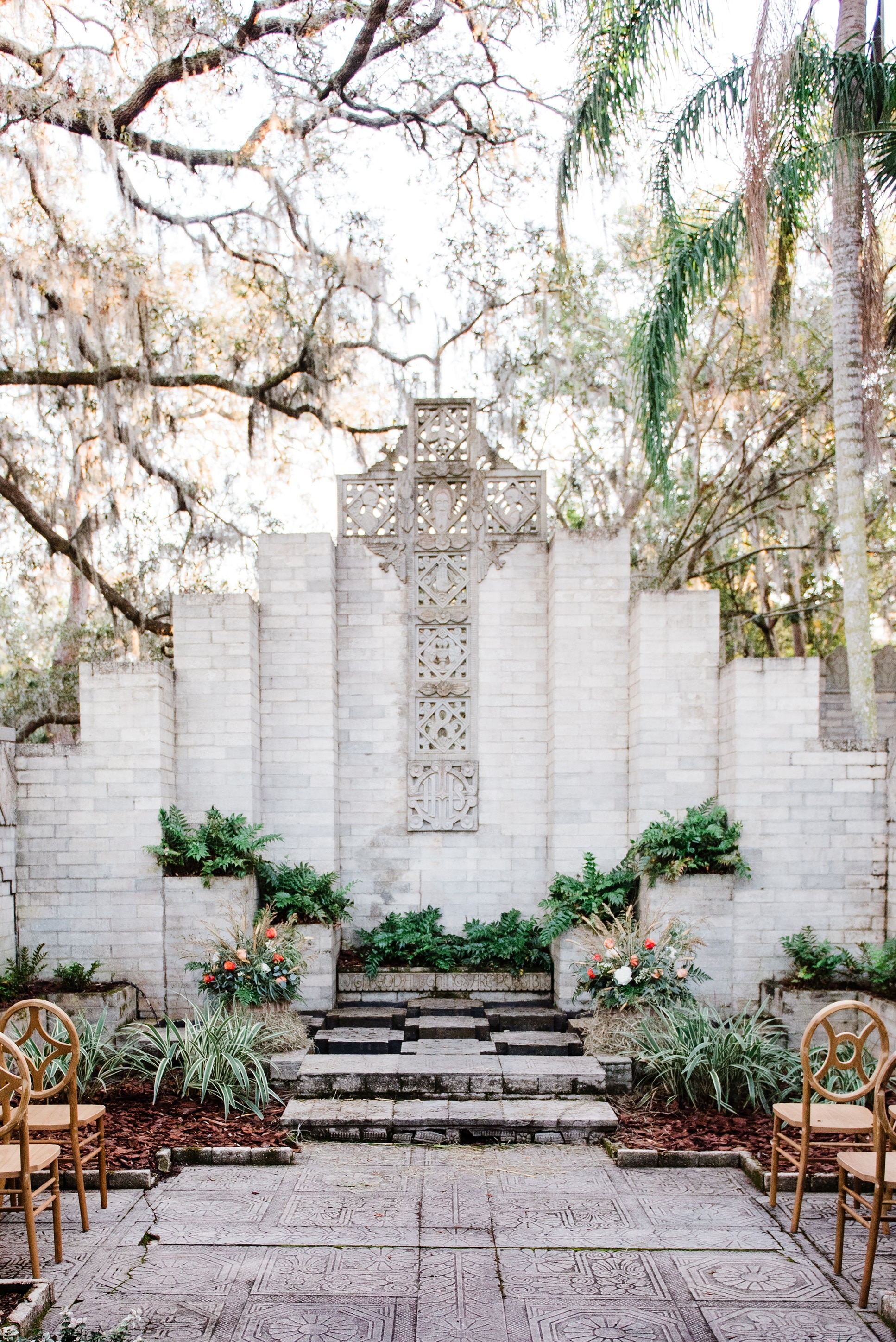 Maitland Art and History Museums - outdoor wedding venue with unique stone backdrop