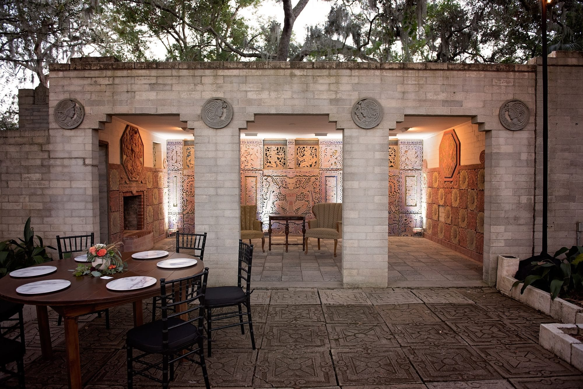 Maitland Art and History Museums - Mayan-inspired pavilion in courtyard reception spot