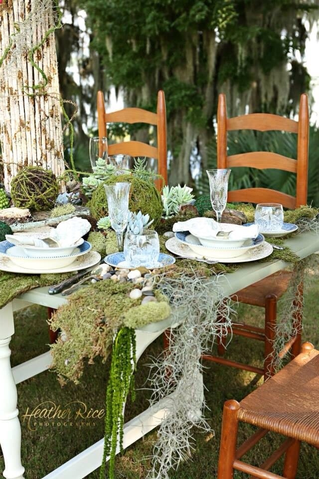 Atmospheres Floral and Decor - rustic outdoor tablescape with moss
