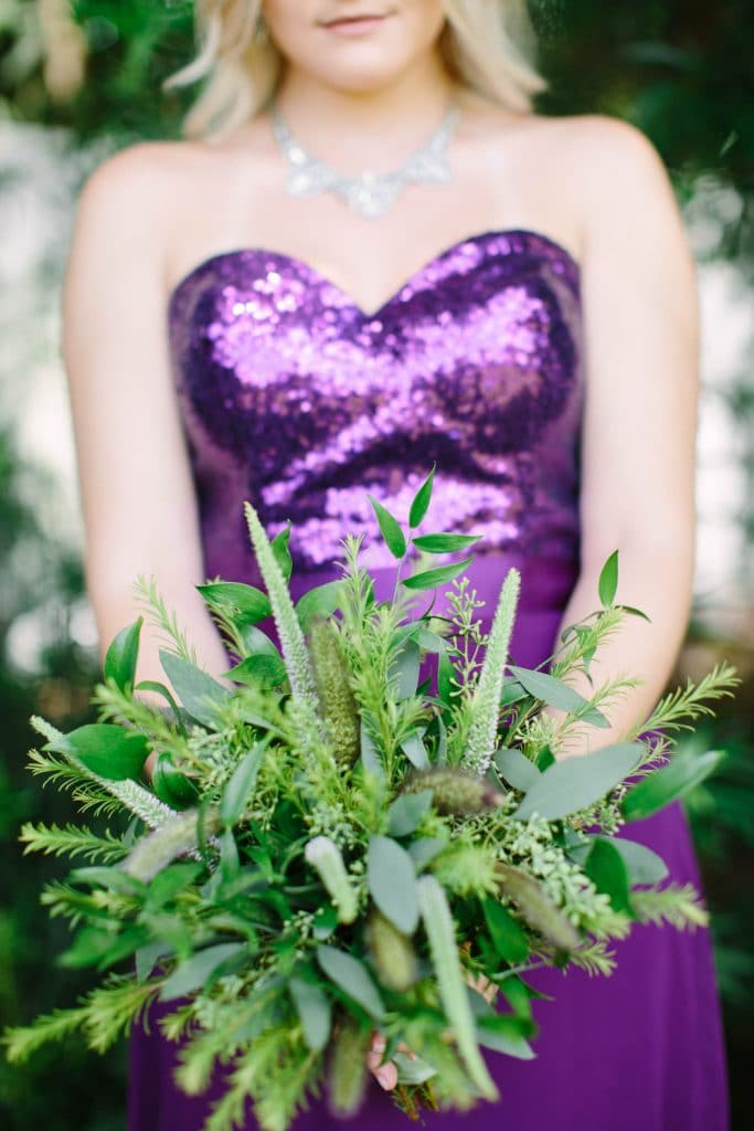 Atmospheres Floral and Decor - bridesmaid with all green bouquet