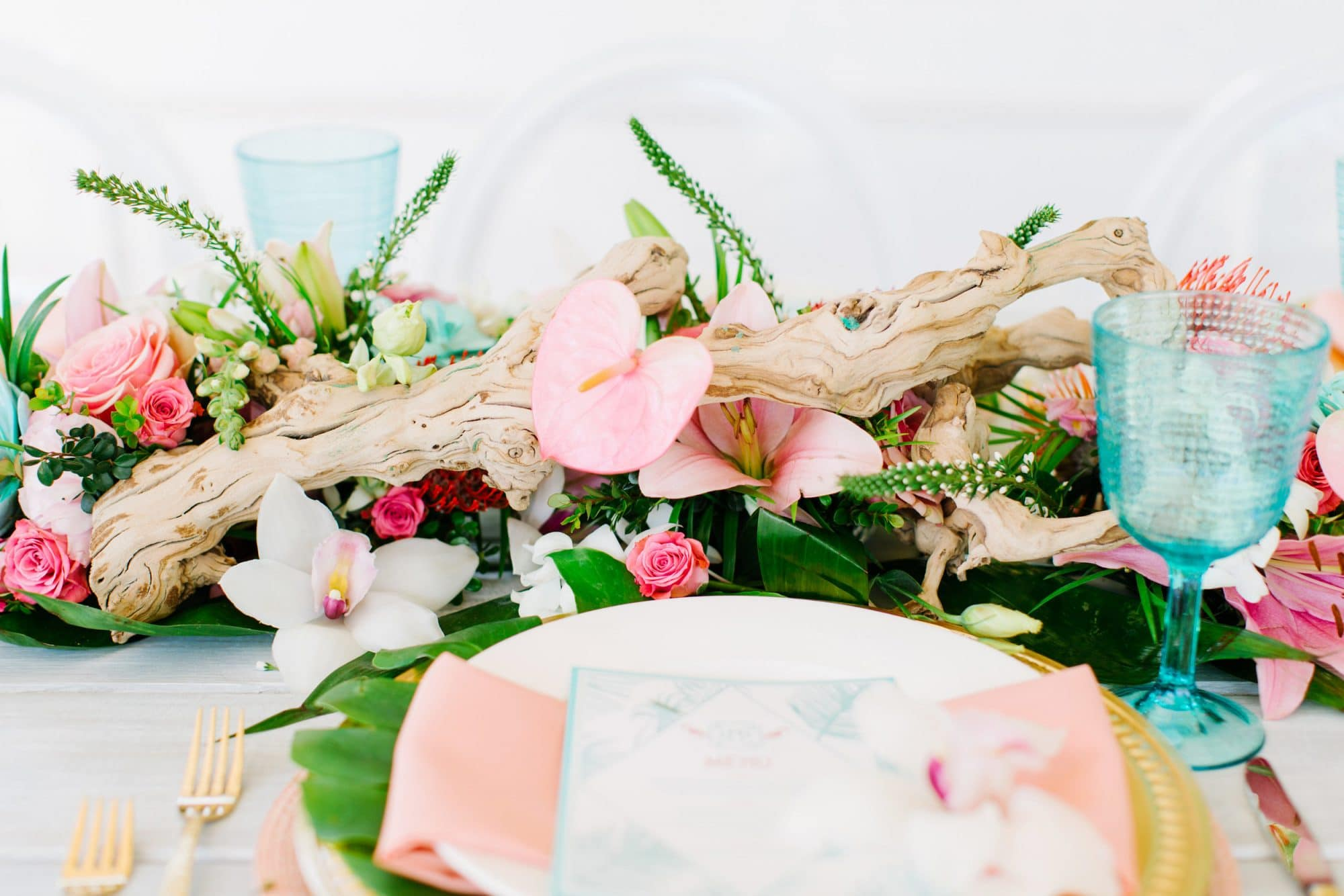 Atmospheres Floral and Decor - simple, low lying, tropical centerpiece