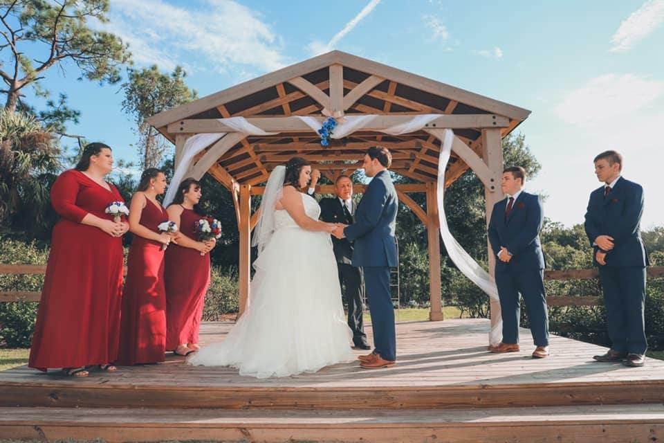 Blue View Barn - wedding ceremony under pavilion