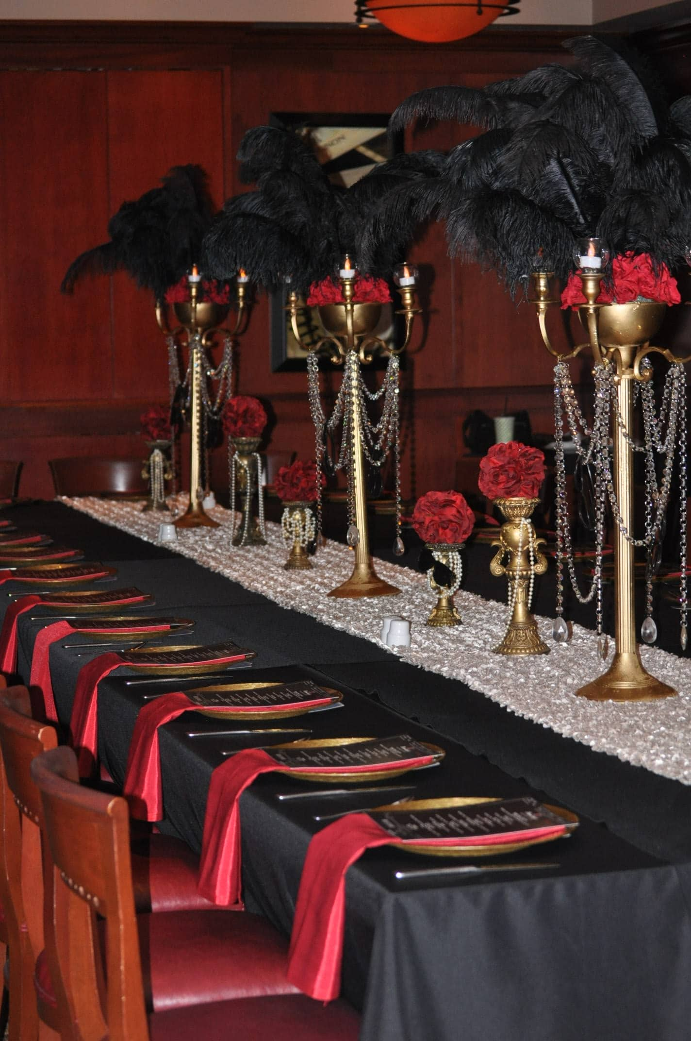 Fleming's Winter Park - 1920's inspired centerpieces with black feathers
