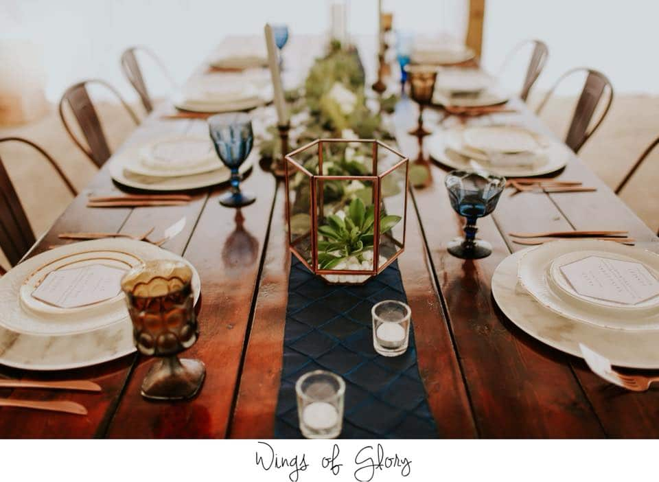 Hastings Ranch & Farm - rustic farm table with succulents in geometric vases